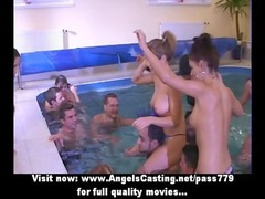 fresh orgy in the swimming-pool with water fight