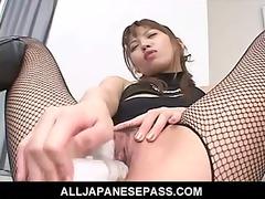 excited japanese av model undresses out of her