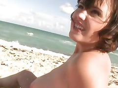 chick is filmed nude on the sea coast