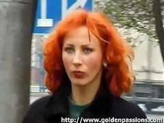 cougar red-haired getting a piss into a open-air