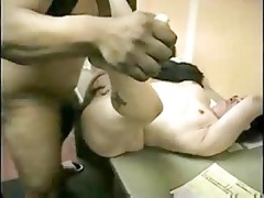 chubby whore gagging and banging dark penis