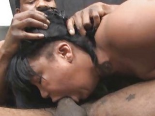 ebony whore destroyed by a pimps rough facefuck