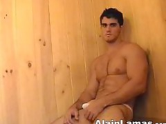 extremely impressive sauna with muscle hunk