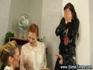 triple pretty homosexual women tease bukkake games