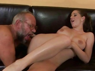 grandpa drilling with desperate amateur angel