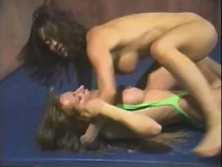 desperate whores are wrestling exposed on the mat