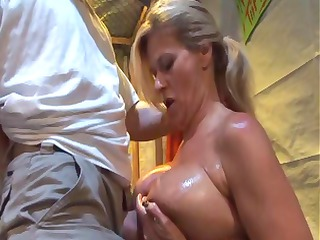 horny blonde eats up his cock, acquires pierced