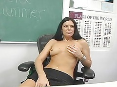 classy brunette professor playing her hungry pussy