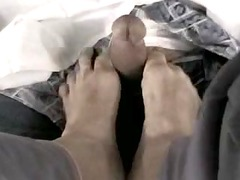 underneath the desk footjob