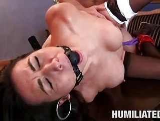 humiliated ebony haired fuckstar with giant tits