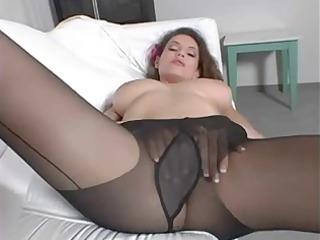 beauty pushing dildo inside darksome hose