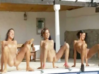 six naked girls by the swimming-pool from france