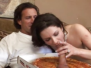 special licking pizza sausage for a woman