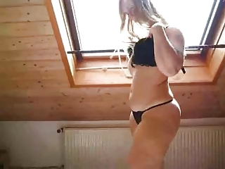 sweet blond into high shoes exposes off her plump