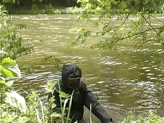 angel inside wetsuit and rubber raniwear like soft