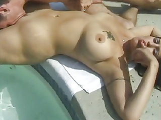 curvy swimming-pool chick