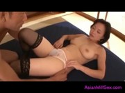 Mature Woman In Stockings Getting Her Hairy Pussy