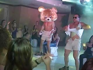 dancing bear at birthday gathering