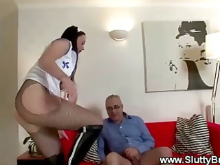 elderly boy ravages inexperienced babe from behind