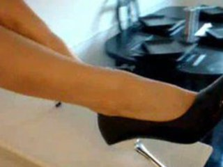 hot girl inside high shoes