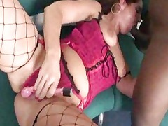 oldtimer with fish net nylons tries making a