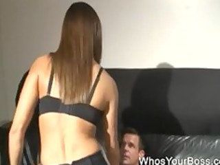 submissive boy takes spanked by a awesome femdom