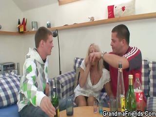 partying guys lure elderly inside three people