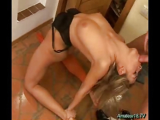 flexible gymnast deepthroating and acquiring