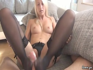 goldenhaired footjob in black pantyhose