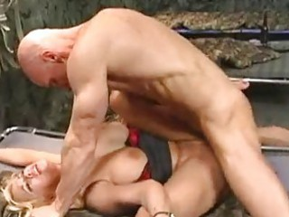 naughty blond inside army takes her giant breast